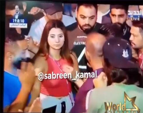 بالفيديو : مذيعة لبنانية تتعرض للتحرش على الهواء مباشرة