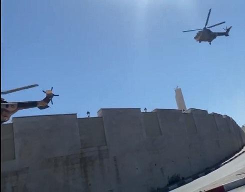شاهد : مروحيات أردنية تنقل عباس من رام الله إلى عمان