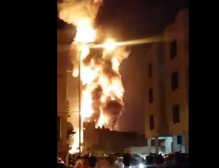 شاهد ..  انفجار أدى لحريق بأحد أنابيب النفط في البحرين