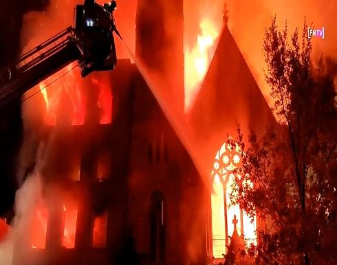 حريق هائل يدمر كنيسة تاريخية في نيويورك .. شاهد