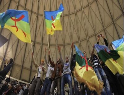 متظاهرون يرفعون الراية الأمازيغية في إحدى المظاهرات بالجزائر - أرشيف