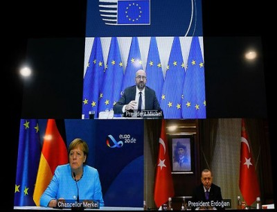 اردوغان و شارل ميشيل، والمستشارة الألمانية أنجيلا ميركل
