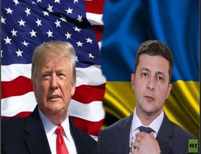 الرئيس الأوكراني فلاديمير زيلينسكي ونظيره الأمريكي دونالد ترامب