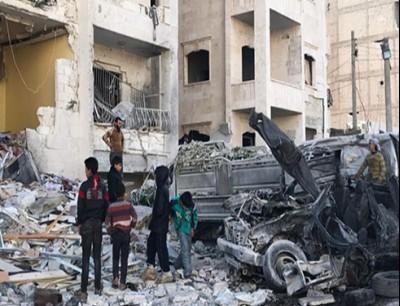 قصف جوي ادلب ارشيفية