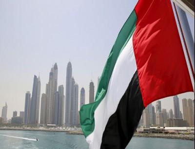 علم الإمارات على خلفية مشهد دبي