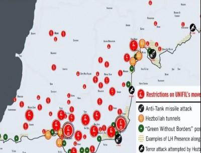 خريطة إسرائيلية بمواقع حزب الله جنوب لبنان
