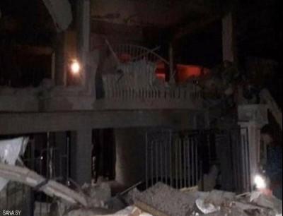 من آثار القصف قرب السفارة اللبنانية في دمشق