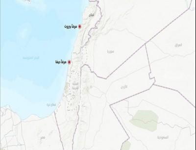خريطة الاردن ولبنان و الاراضي المحتلة
