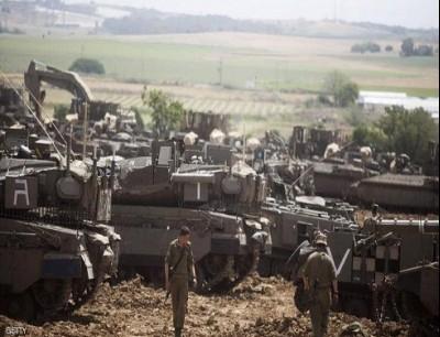 حشود عسكرية للجيش الإسرائيلي على حدود قطاع غزة.