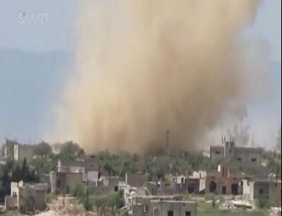 قصف سابق قرب حماة
