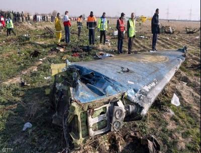 جانب من حطام الطائرة الأوكرانية التي أسقطتها صواريخ إيرانية