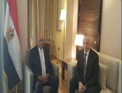 رئيس مجلس النواب الليبي، عقيلة صالح، ورئيس مجلس النواب المصري، علي عبد العال