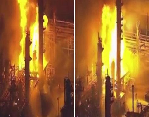 بالفيديو.. انفجار «مصفاة نفط» ضخمة في كارسون الأمريكية