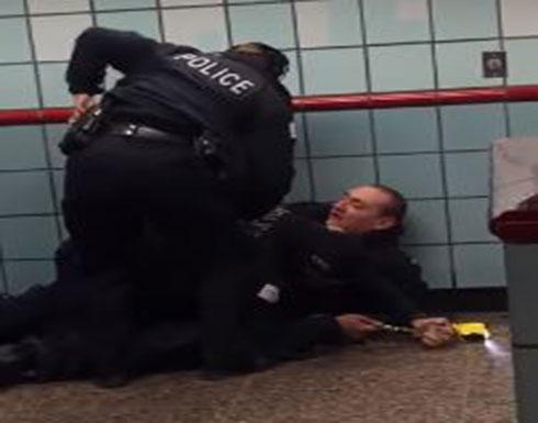 شاهد : ضباط يطلقون النار على رجل بعد وصلة من الضرب المبرح في امريكا