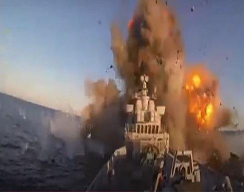 بالفيديو : لحظة إصابة البارجة الإيرانية بصاروخ في خليج عمان
