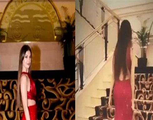 """مايا رعيدي تثير الجدل بفستان أحمر """"فاضح"""" ومفتوح الصدر..شاهد! (فيديو )"""
