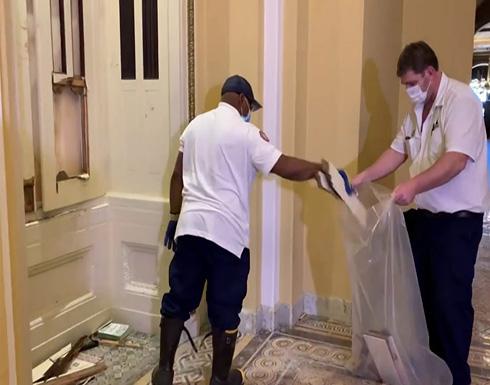 شاهد : دمار في الكونغرس الأمريكي بعد أعمال التخريب أثناء اقتحامه