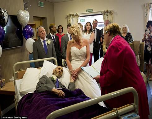 بالصور.. حفل زفاف داخل مستشفى في اللحظات الأخيرة من حياة العريس