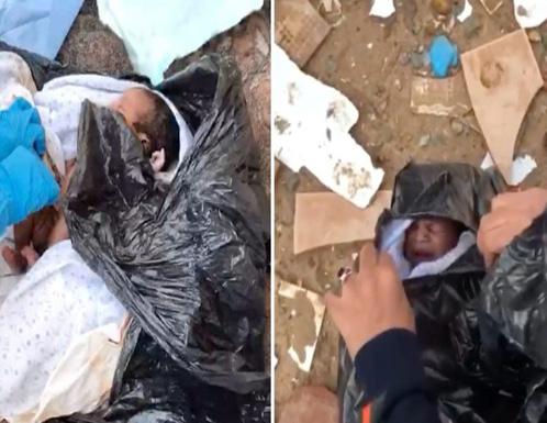 شاهد فيديو صادم.. العثور على طفل لقيط ملقى داخل حاوية نفايات بالسعودية