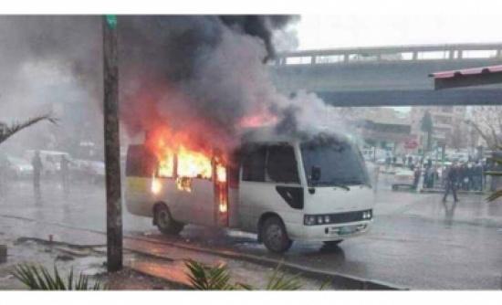 الأمن: 64 قيدا بحق السائق الذي أحرق حافلته