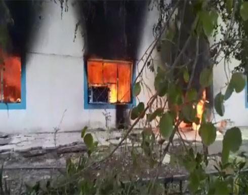"""بالفيديو : حرق مقر """"حركة الوفاء"""" في النجف"""