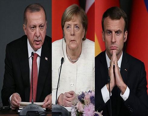أردوغان يؤكد لماكرون وميركل ضرورة إيقاف عدوان النظام السوري بإدلب