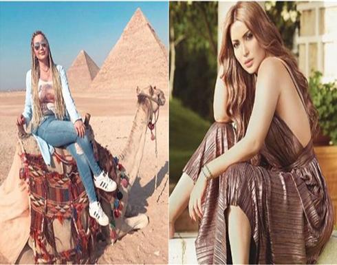 صور : نسرين طافش تركب الجمل أمام أهرامات الجيزة..