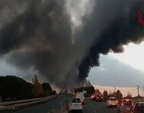 شاهد : اندلاع نيران في صهريج وقود في فلورنسا الايطالية