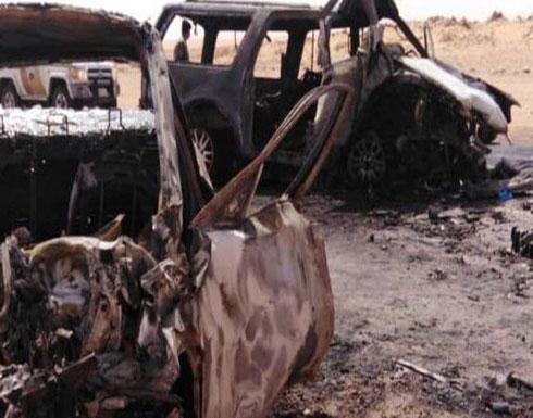 حادث سيارة أليم.. مصرع أسرة سعودية بالكامل حرقاً .. بالصور