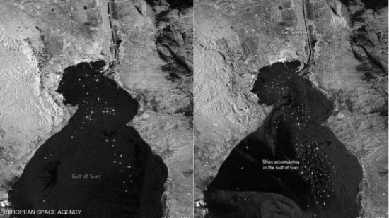 """صور من الفضاء توضح حجم """"أزمة"""" السفينة في قناة السويس"""