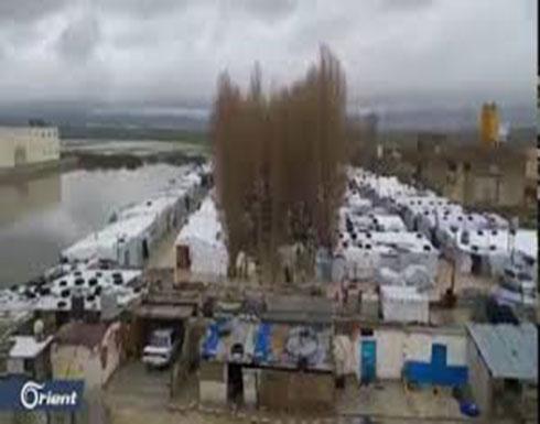 شاهد: مخيمات السوريين في البقاع تغرق بالسيول