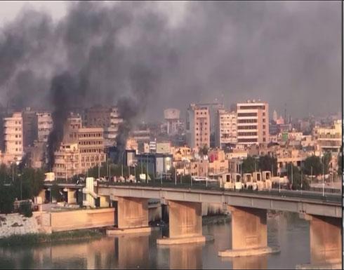 شاهد : إطلاق الرصاص الحي على المتظاهرين العزل قرب ساحة الخلاني وسط بغداد مع إستمرار الإحتجاجات