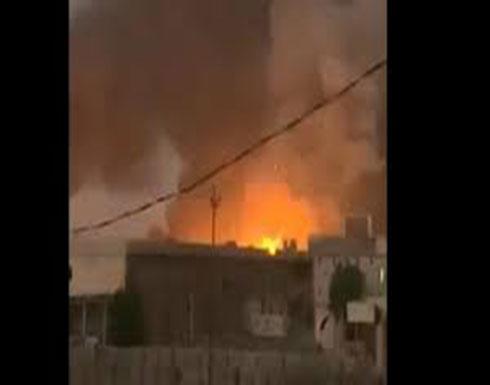 شاهد : الانفجار التي وقع في مخزن عتاد لميليشيات حزب الله العراقي