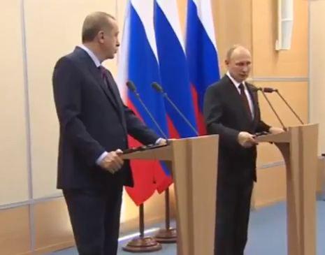شاهد .. المؤتمر الصحفي للرئيس التركي رجب طيب أردوغان والرئيس الروسي فلاديمير بوتين