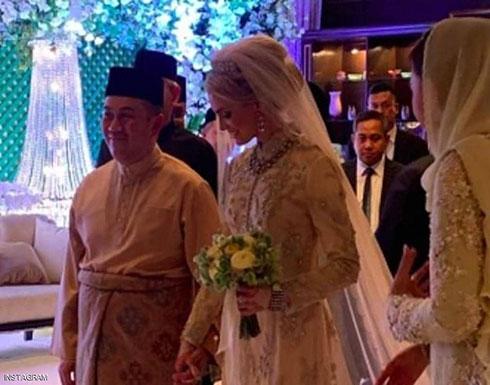 """بالصور.. زفاف أسطوري لولي العهد الماليزي على """"حسناء سويدية"""""""