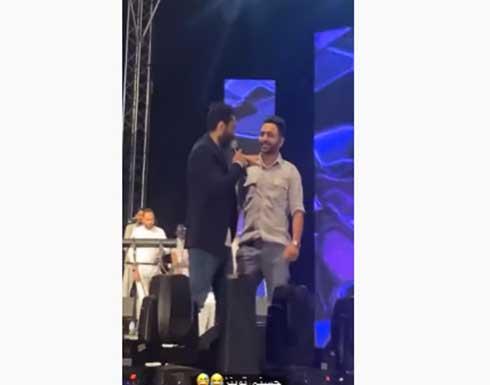 شبيه تامر حسني يظهر في حفله بالاردن - فيديو