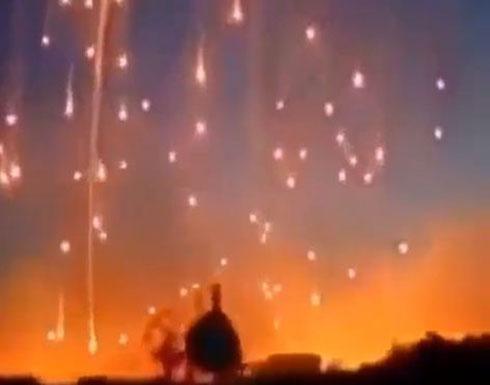 القصف الهستيري الروسي باستخدام قنابل الفوسفور المحرم دوليا على بلدة صيدا بريف درعا