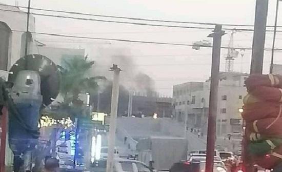 صورة : حريق بمجمع الباص السريع في طبربور