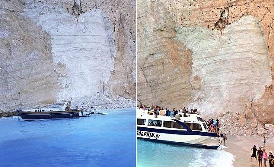 حالة من الهلع.. انهيار صخري يرعب رواد الشاطئ في اليونان