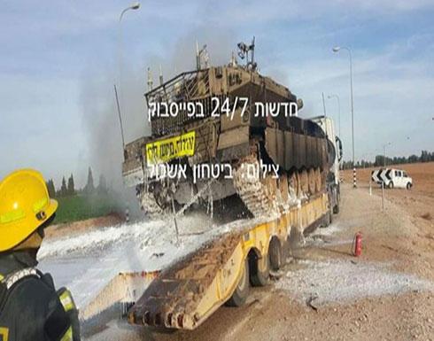 شاهد: احتراق دبابة قرب حدود غزة وإصابة جندي في الشمال