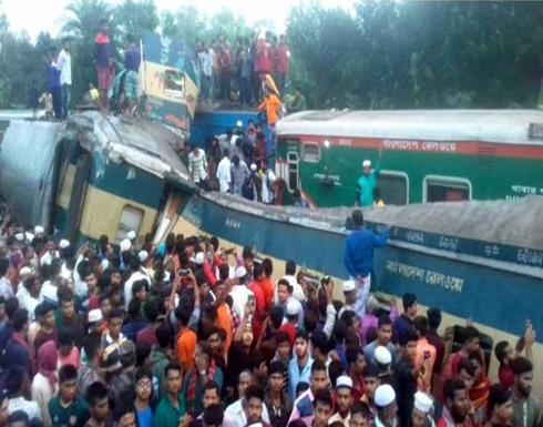 بالفيديو : مقتل 15 شخصا بتصادم قطارين في بنغلاديش