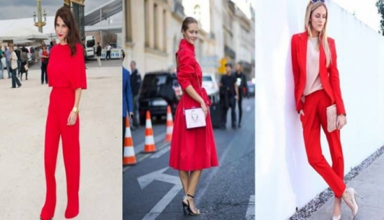 بالصور: البدلة الحمراء تستهوي الفاشينيستات وتمنحهن إطلالة أنثوية جريئة