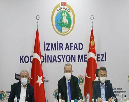 أردوغان يتفقد منطقة الزلزال في إزمير وارتفاع عدد الضحايا إلى 39 قتيلا