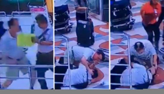 بالفيديو: سائح أمريكي غاضب يضرب سائق أجرة في مطار بتايلاند