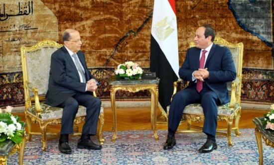 """عون يدعو السيسي إلى إطلاق """"مبادرة إنقاذ عربية"""" لمحاربة الإرهاب وحل أزمات الوطن العربي"""