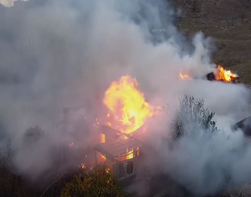 شاهد : مواطنو قره باغ يحرقون منازلهم قبل الرحيل