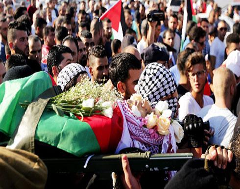 تشييع جثمان الشهيد عز الدين التميمي في قرية النبي