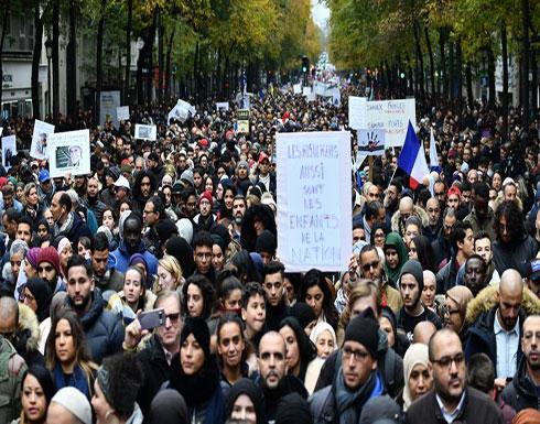شاهد : مظاهرات ضد العنصرية الفرنسية للمسلمين في فرنسا