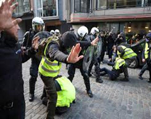 شاهد : اشتباكات في بروكسل بين الشرطة ومحتجين