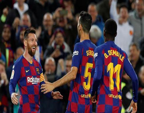 """بالفيديو : ميسي يسجل الـ""""هاتريك"""" ويقود برشلونة لفوز ثمين"""